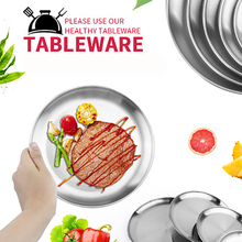 Stainless Steel Plate Five-Piece Travel Cutlery Set Grill Dishes Plate Dish BBQ Picnic Dinner Plates a set friction plates paper based plate