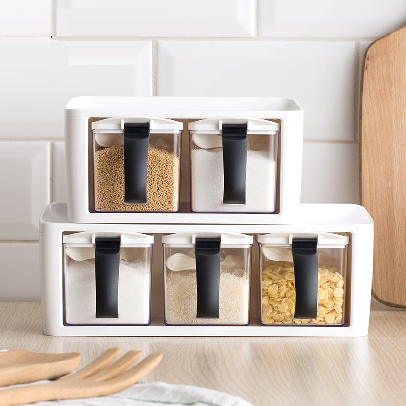 Kitchen Organizers Spice Rack Stacked Storage Seasoning Boxes Spice Jars With Handle Spoon Kitchen Plastic Storage Container