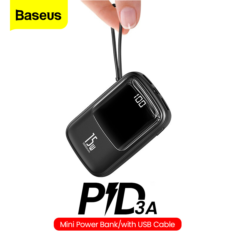 Baseus Mini 10000mAh Power Bank USB C PD Portable Charger Small 10000 Powerbank External Battery For IPhone 11 Xiaomi Mi Samsung