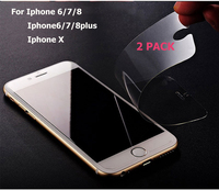 Cristal templado protector 2P para iphone 6, 7, 5, 6s, 8 plus, 11 pro, XS, max, XR, 7, 8x, 7S, 6S, 8, película de vidrio protectora para teléfono móvil