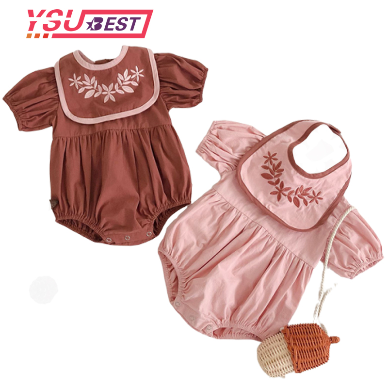 0-3Yrs Baby Girls Clothes Puff Sleeve Baby Girls Bodysuits Embroidery Infant Girls Jumpsuits Summer Baby Bodysuit With Bibs