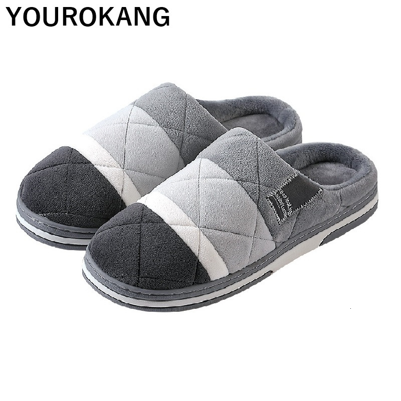 Big Size Men Winter Home Slippers Soft Plush House Couple Shoes Male Indoor Cotton Shoes Gingham Furry Lovers Floor Flip Flops
