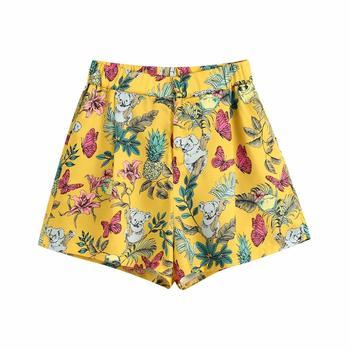 Za Printed shorts mustard High-waist shorts back elastic Side pockets back false welt pockets Front darts zip fly metal hook zip front check plaid shorts