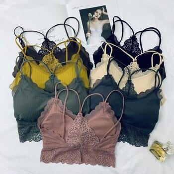 Women Crop Tops Lace Underwear Sleeveless Feamle Crop Top Lingerie Beauty Back Tank Top Women Padded Camisole knot back plaid crop top