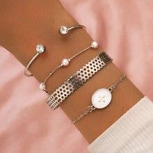 Simples temperamento ornamento com gota de óleo geométrica cruz cristal pérola oco aberto pulseira de 4 peças conjunto de pulseira para o sexo feminino