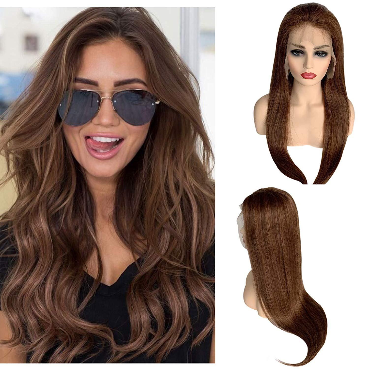 24 Long Straight Human Hair 13x4 Lace Front Balayage Wig Medium Brown Dark Auburn Lace Wigs Pre Plucked Bleached Knots For Women