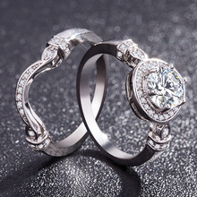 2 /pcs a set Exquisite Top Quality Round Cubic Zirconia Halo Engagement Bridal Ring For Women Rings Female Micro-set 6-10