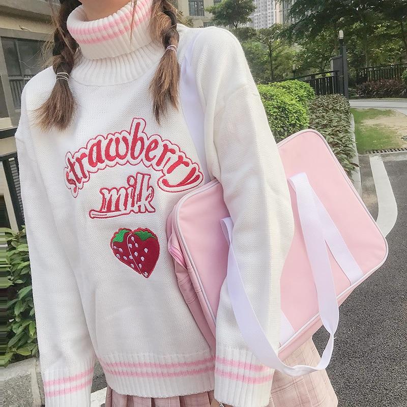 Kawaii Strawberry Embroidered Sweater