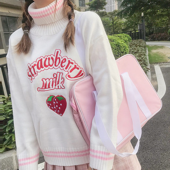 Cute Strawberry Embroidered Loose Sweater Women's Sweaters Japanese Kawaii Ulzzang Female Korean Harajuku Clothing For Women 1