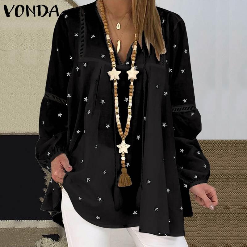Повседневное Pубашки Длинные рукава Геометрический принт V-образный