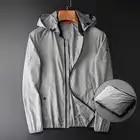 Летняя мужская куртка роскошный Съемный с капюшоном воротник защита от солнца мужские куртки размера плюс 4xl серый тонкий мужской пиджак