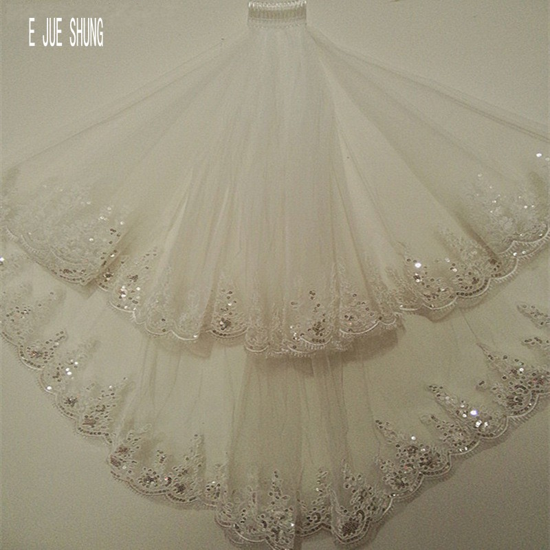 E JUE SHUNG Bling Sequins Short Bridal Veil Luxury Two Layer Wedding Veils Wedding Accessories Veu De Noiva