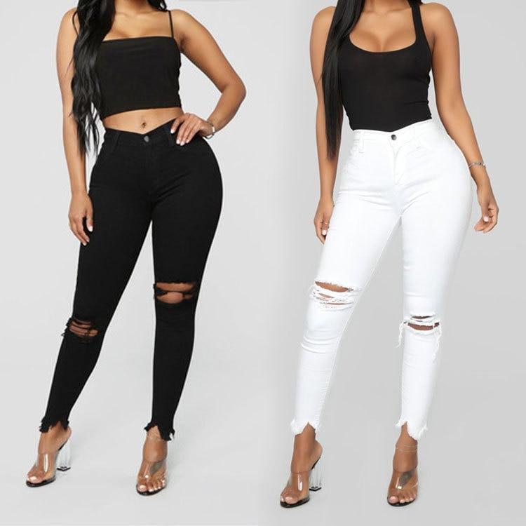 Calça jeans rasgada feminina, preta e branca, slim, casual, skinny, de moda feminina, plus size s-3XL