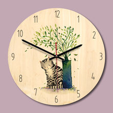 M.Sparkling 11inch Home Decoration Wooden Wall Clock Mute Clocks Cartoon Cute Kitchen Wall Watch Reloj De Pared Decorativo(China)