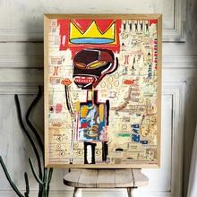 Arte de Michel Basquiat de tela vaquera para decoración del hogar, pintura en lienzo de corona, impresiones artísticas para colgar en pared, cuadro decorativo para sala de estar