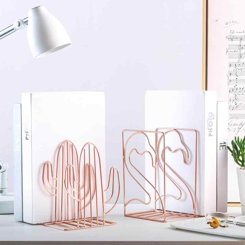 2 יח'\חבילה יצירתי קקטוס פלמינגו בצורת מתכת תומכי ספרים ספר תמיכה Stand שולחן מארגן אחסון בעל מדף