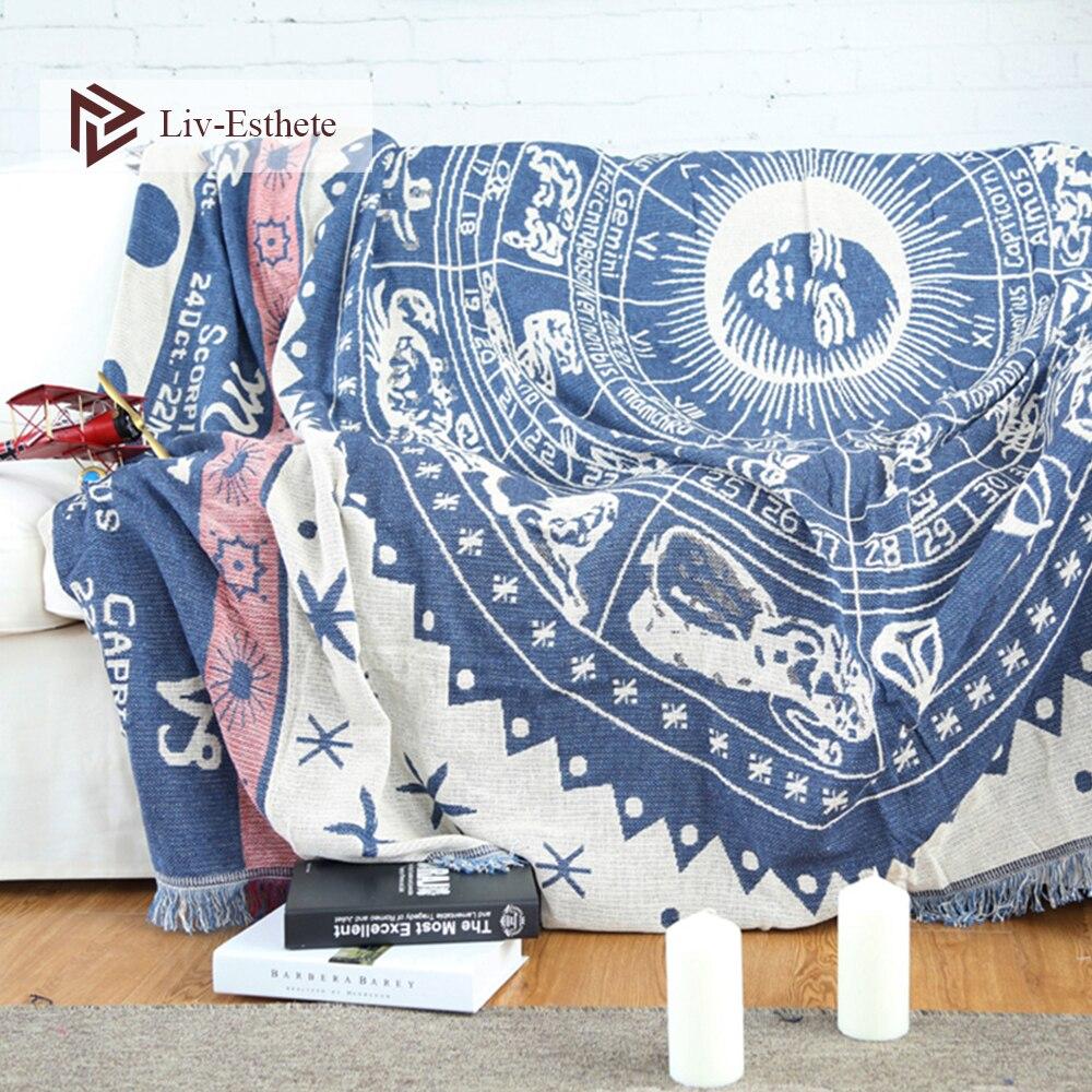 Liv-Esthete Fashion 100% Cotton Bohemia Sun Moon Blanket Throw Tassel Blanket Adult Sofa Bed Sleeping Bag Wrap Knitted Blanket