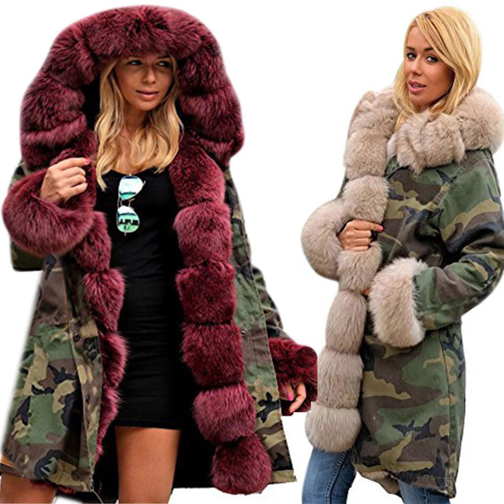 Coats And Jackets Women Faux Fur Winter   Parka   Hooded Fishtail Long Sleeves Overcoat Cotton Clothing Jacket Women 2018oct16