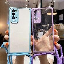 Funda de teléfono de silicona con cordón para Samsung Galaxy S20, FE, S10 Plus, Note 20, A71, A51, collar ultradelgado, funda suave de cuerda