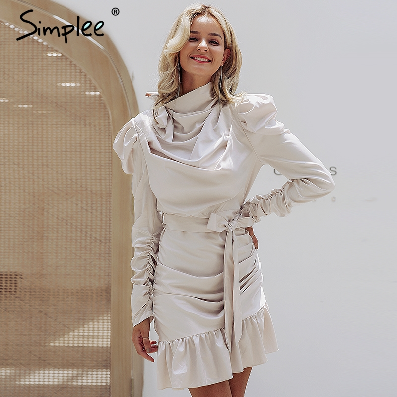 Simplee Elegant women pleated satin dress Ruched ruffle sashes ladies party dresses Luxury solid female club celebrity vestidos