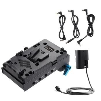 ABHU-V Mount V-Lock Battery Plate Adapter with 15mm Dual Hole Rod Clamp LP-E6 Dummy Battery Adapter for Monitor Audio Recorder m