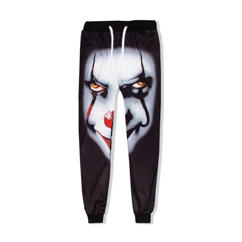 Animation 3D Sweatpants Hip Hop Sports 774 # Black Face Pants Pennywise Clown Hui Hun Sweatpants Customizable Fashion