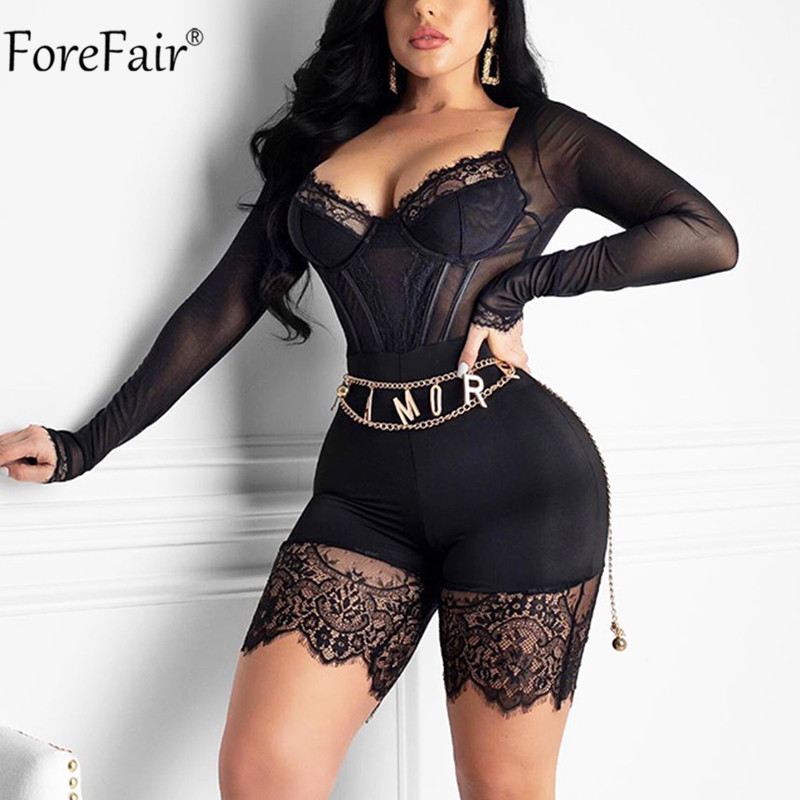 Forefair V Neck Lace Long Sleeve Jumpsuit Women Sexy Spring Summer Black Red Mesh Bodysuit Transparent See Though Romper