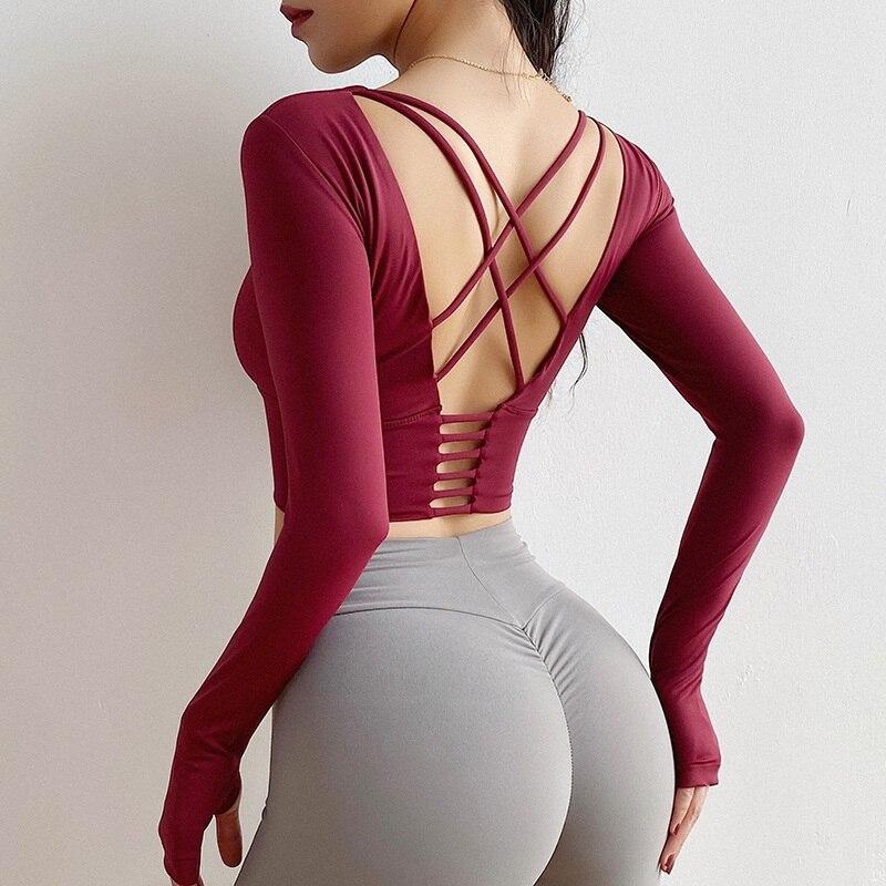 Cloud Hide Sexy Sports Bra Women Fitness Long Sleeve Underwear Blouse Push Up Yoga Crop Top Running Gym Shirt Winter Activewear
