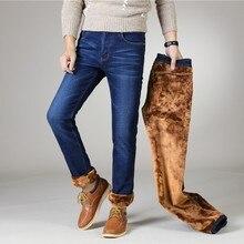 Stretch Jeans Trousers Pants Men Fleece Flannel Winter Straight Mens Famous-Brand Male