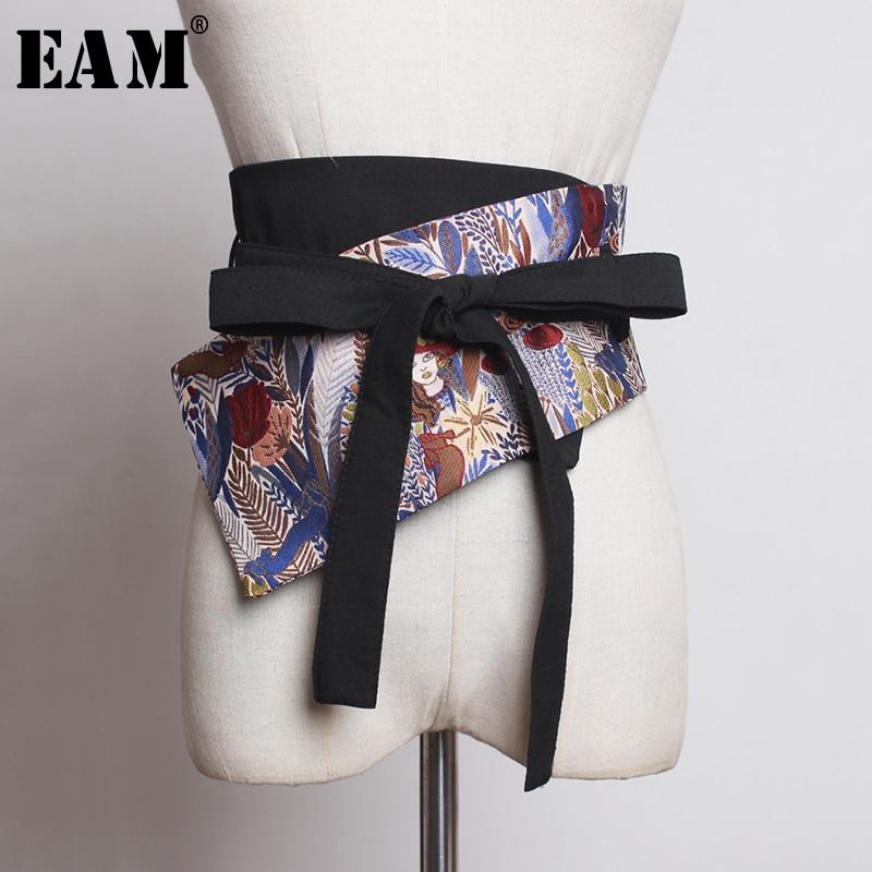 [EAM] Pattern Print Bandage Bow Wide Belt Asymmetrical Personality Women New Fashion Tide All-match Autumn Winter 2019 JZ450