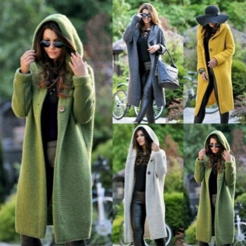 New Long Sweater Coat Women Autumn Winter Loose Cardigan Hooded Long Jacket Outwear Overcoat