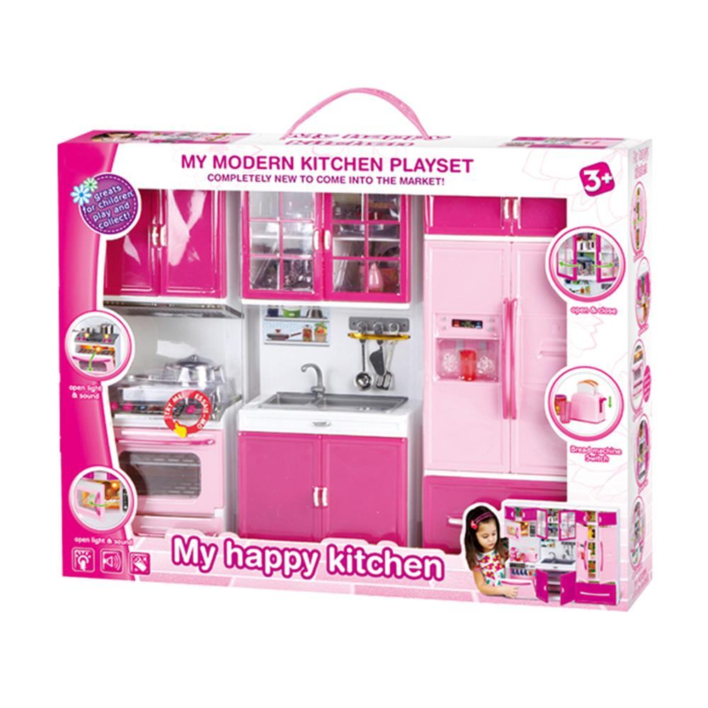 Simulation Kitchen Cabinets Set Children Pretend Play Cooking Tools Mini Dolls Tableware Suits Toys Girls Dollhouse Play Toy Gif-5