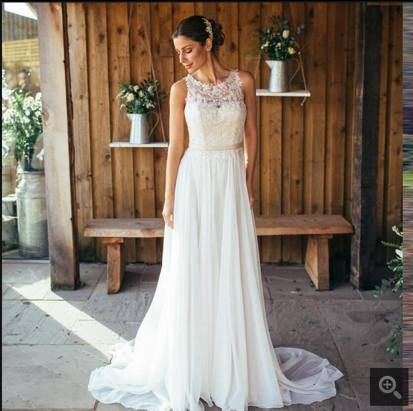 2020 Attractive Summer Beach A Line Chiffon Wedding New Dress Sheer Back Sexy Back Button Lace Appliques Bride Dress On Sale