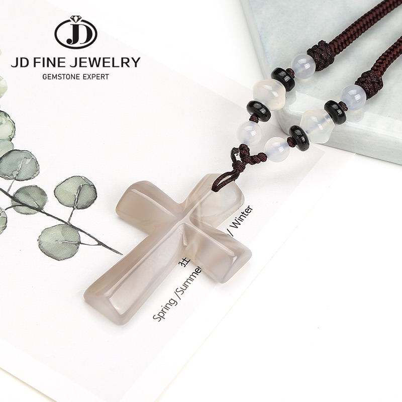 JD 10 Colors Lucky Female Cross Crystal White Agate Pendants 24
