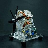4 코일 팬 모터 브러시리스 모터 홀 전자기 마이크로 모터 수제 선물 아이디어