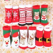 Рождественские хлопковые теплые носки для маленьких девочек и мальчиков; сезон осень-зима Детские Полосатые Махровые Носки с рисунком снежинок, лосей, Санта Клауса; Носки с рисунком медведя