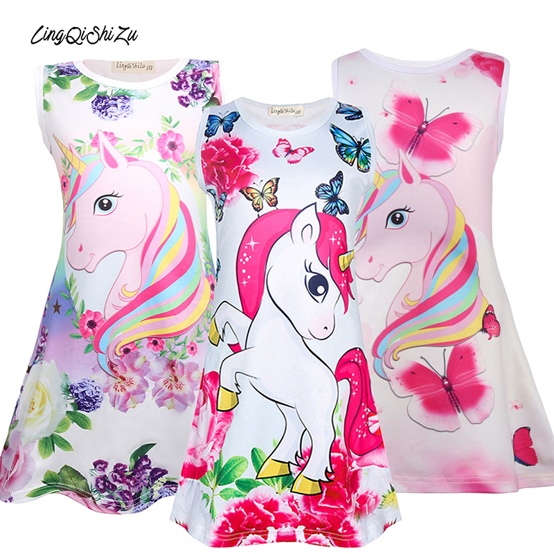 Unicorn Kids Dress Girl Cartoon Butterfly Birthday Party Kids Girls Summer Dresses Summer Soft Children Kids Dresses For Girls