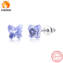COLOGO Hot sale 100% 925 Sterling Silver Sparkling Colorful butterfly crystal Earrings For Women party Jewelry Lucky Gift LKN74