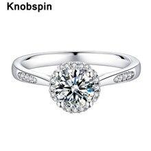 Knobspin 100% 925 prata esterlina real 1 quilates d cor moissanite anéis de noivado para mulheres jóias finas atacado