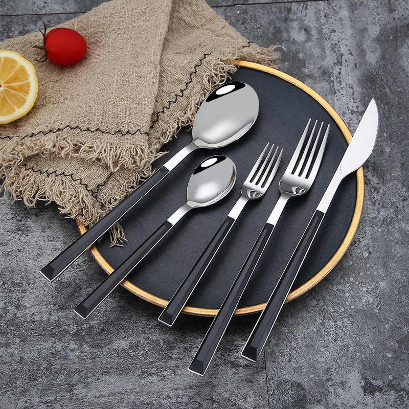 Servies Roestvrij Staal Diner Bestek Messen Vorken Lepels Zwart Of Houten Textuur Handvat Home Party Servies Steak Mes