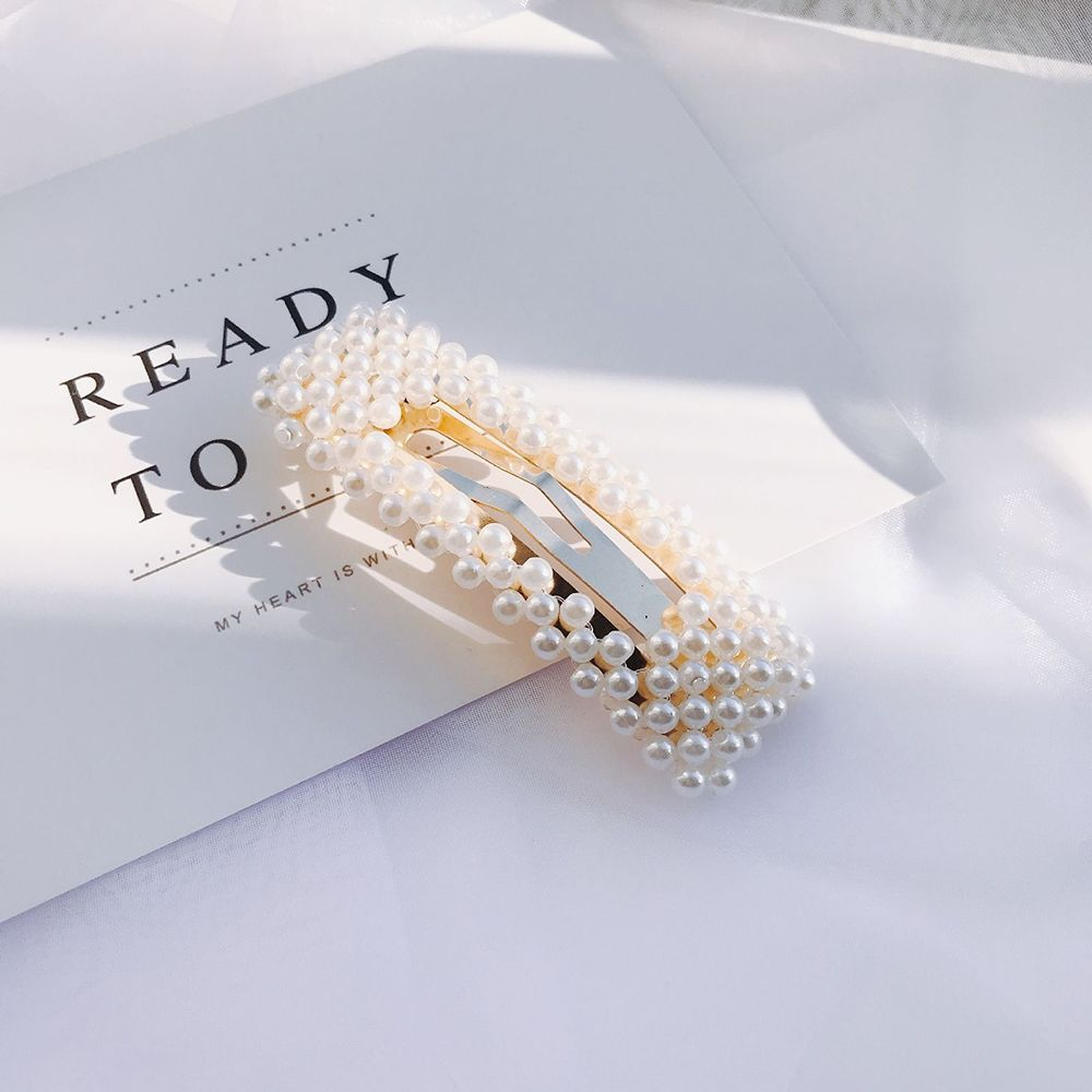 1 pc Fashion Pearl Hair Clip for Women Elegant Korean Design Snap Barrette Stick Hairpin Hair Styling Accessories 2019 NEW in Women 39 s Hair Accessories from Apparel Accessories