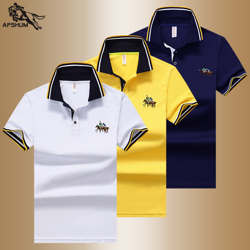 Summer new men   polo   shirt high quality men's cotton short-sleeved solid color embroidery lapel casual business   polo   shirt M-4XL