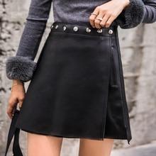 2019 nova moda genuína couro de ovelha real saia j32