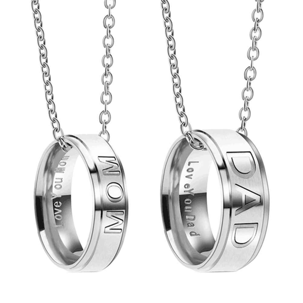 День любви выгравированы с новым дизайном ювелирных изделий папа/мама/пара подготовлено ожерелье из нержавеющей стали подарок
