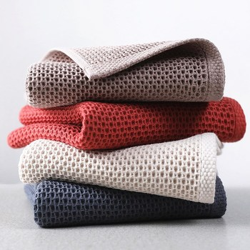 1PC 100% Cotton Hand Towels For Adults 34x34cm Plaid Hand Towel Face Care Magic Bathroom Sport Household Non-disposable Towel image