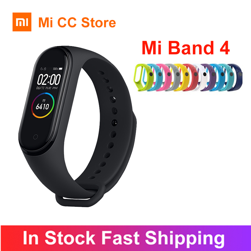 In Stock Xiaomi Mi Band 4 AMOLED Screen Heart Rate Fitness Tracker Miband 4 Bluetooth5 0 Waterproof 5 color Smart Sport Bracelet