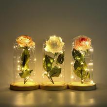 Красивая красная роза в стеклянном куполе деревянная основа навсегда Роза для украшения День святого Валентина подарки светодиодный светильник романтические лампы с розами