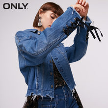 Women's Loose Fit Lace-up Raw-edge Short Denim Jacket | 118354528(China)