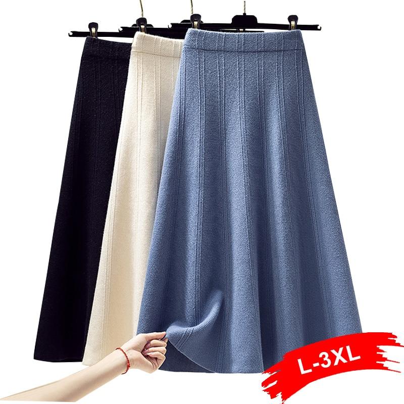 Winter Plus Size Thick Warm Big Swing Blue Sweater Skirts 3Xl 4Xl Elastic Band High Waist Midi Long A-Line Knitted Skirt Women