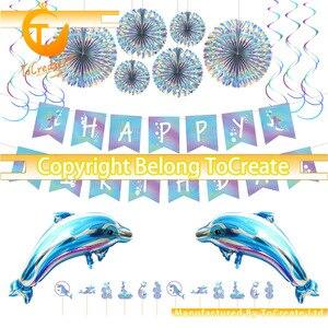 Лидер продаж, Детские Вечерние Декорации для дня рождения с изображением дельфина, комплект со спиральным флагом для дня рождения, флагом д...